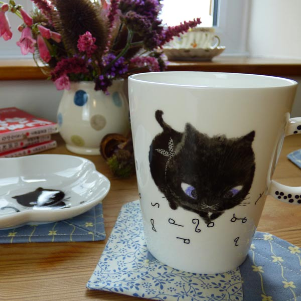 Beautiful coasters with Black Cat mug