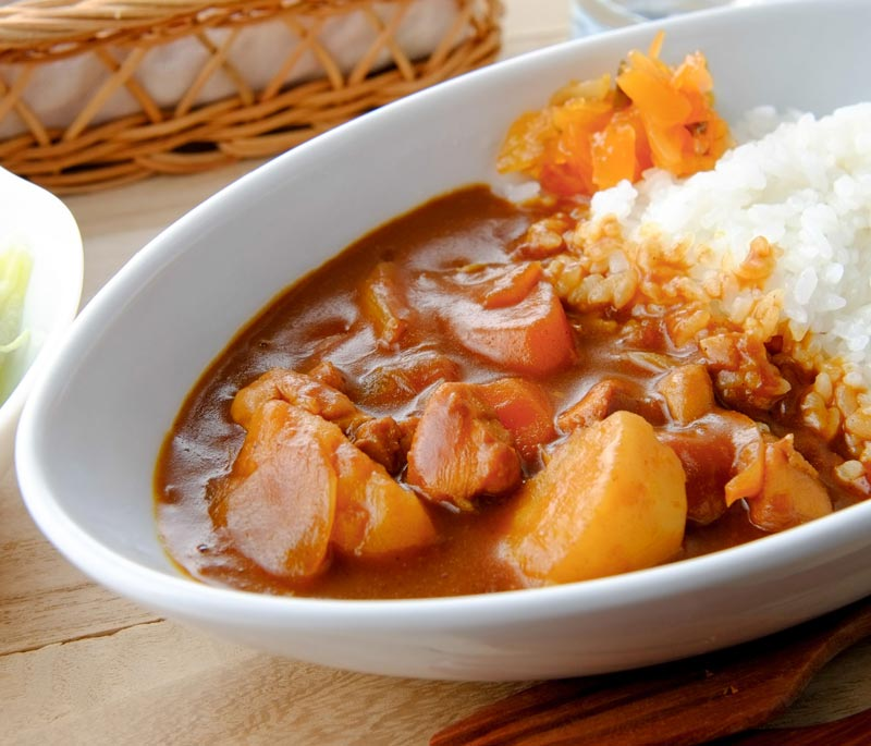 Japanese curry in oval bowl
