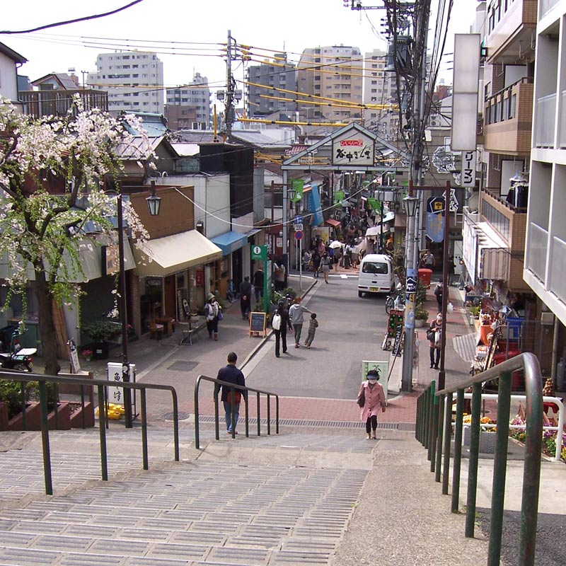 Steps leading to Yanaka Ginza shopping street