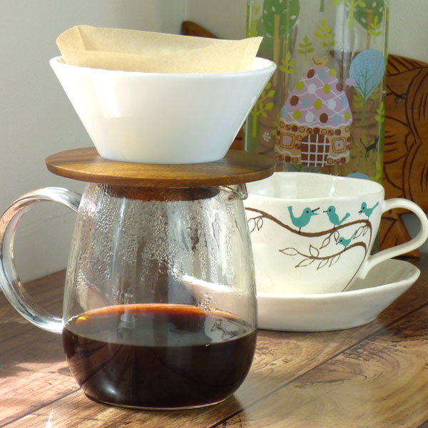 Glass pour over coffee jug and ceramic filter holder