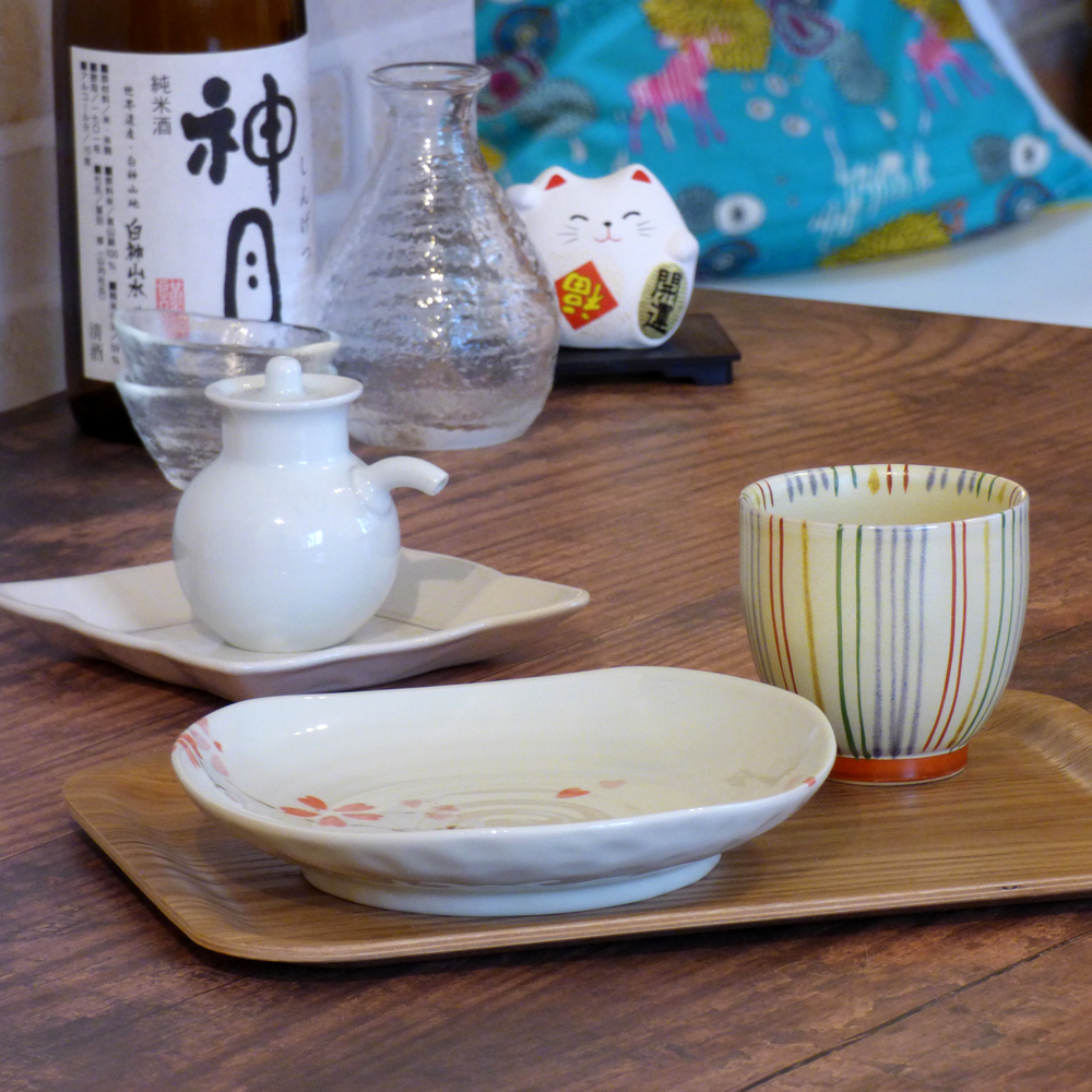 Mix up Japanese teacups and plates in traditional and modern styles