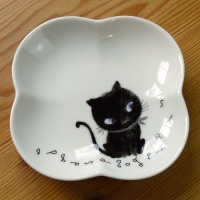 Black Cat side plate designed by Shinzi Katoh