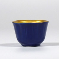 Azure blue mini dish with gold interior