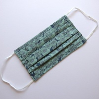Cotton Face Mask in blue and green floral pattern