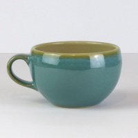 Celadon blue Japanese ceramic soup cup