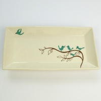 Rectangular serving plate with bluebird pattern by Shinzi Katoh