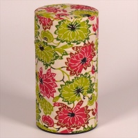 Tall washi paper tea caddy with green and pink floral design
