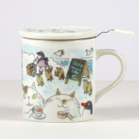'Penguin Café' Cat Mug with Tea Strainer and Ceramid Lid