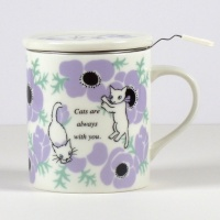 'Anemones' cat design tea mug with strainer and ceramic lid