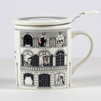 'Musical Villa' Cat design mug with tea strainer and ceramic lid
