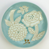 Turquoise flower pattern plate