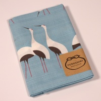 Pale blue furoshiki wrapping cloth with white bird design