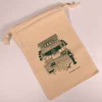 Natural 100% cotton gift bag with tea house design