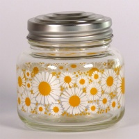Retro Storage Jar Marguerite with pretty daisy design and metal lid