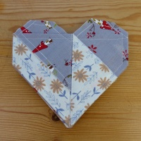 Origami Heart coasters in grey folksy fabric