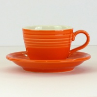 Mandarin orange coffee cup and saucer