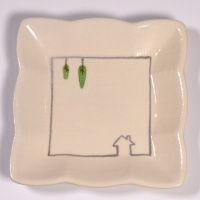 Square mini plate with house and trees design