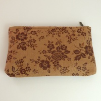 Canvas zip bag with brown floral design