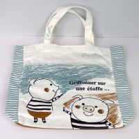 Canvas Tote Bag featuring drawn Piglet design