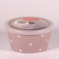 Small mauve ceramic food storage and microwave dish