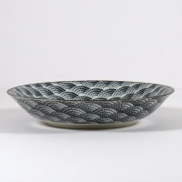 Monochrome Qinghai wave pattern shallow bowl