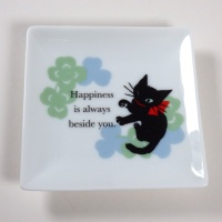 Small square plate with black cat design