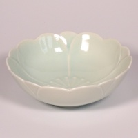 Celadon blue cherry blossom shaped bowl