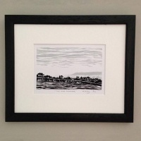 Linocut print by Kim Varley - 'View Over Sedgemoor'