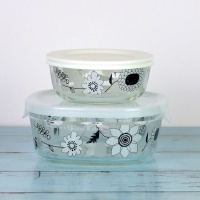 Set of two small glass storage containers with black & white floral design by Shinzi Katoh