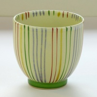 Japanese teacup with striped design, large size