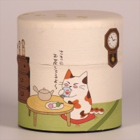 Washi Paper Tea Caddy with cute cat design