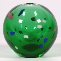 Green glass Japanese vase