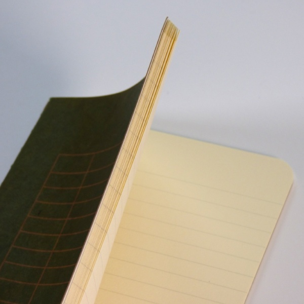 Inside pages of lined notebook