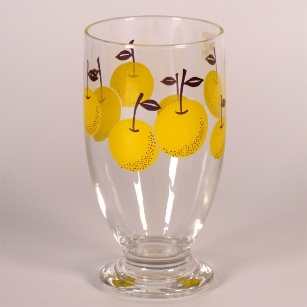 Glass footed tumbler with retro Japanese pear design