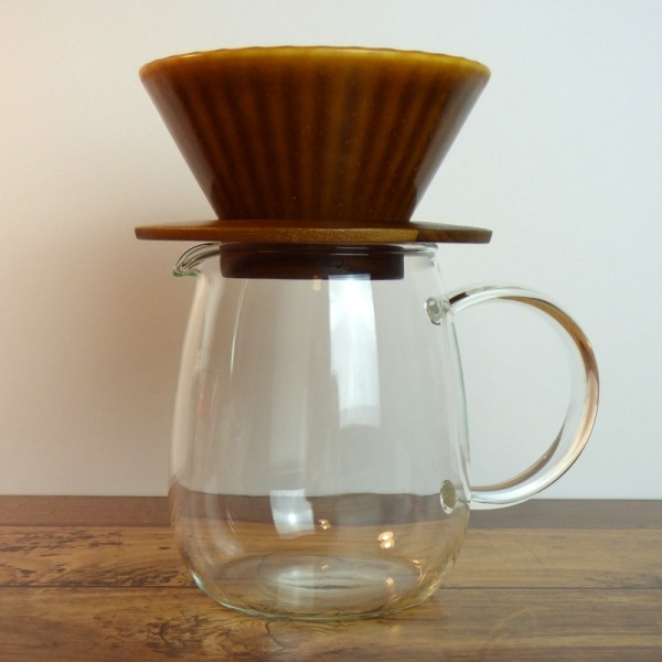 Pour over coffee jug and filter in caramel brown