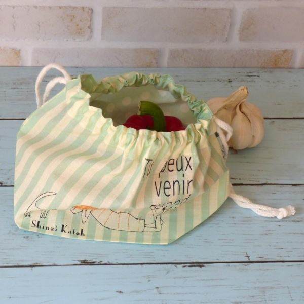 Cotton bento bag with supermarket produce