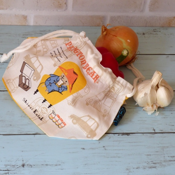 Paddington Bear cotton bento bag with vegetables