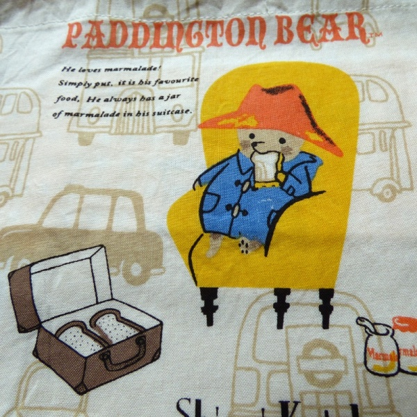 Close up of Paddington Bear detail on cotton lunch bag