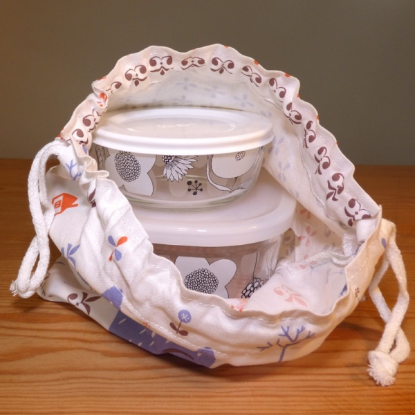 100% cotton lunch bag with small storage containers