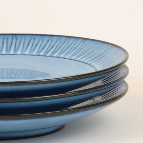 Blue Hasami ware dinner plates close up