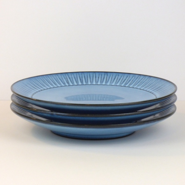 Stack of three blue Hasami ware dinner plates