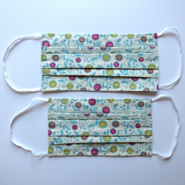 Two sizes of blue vine flowers cotton face mask