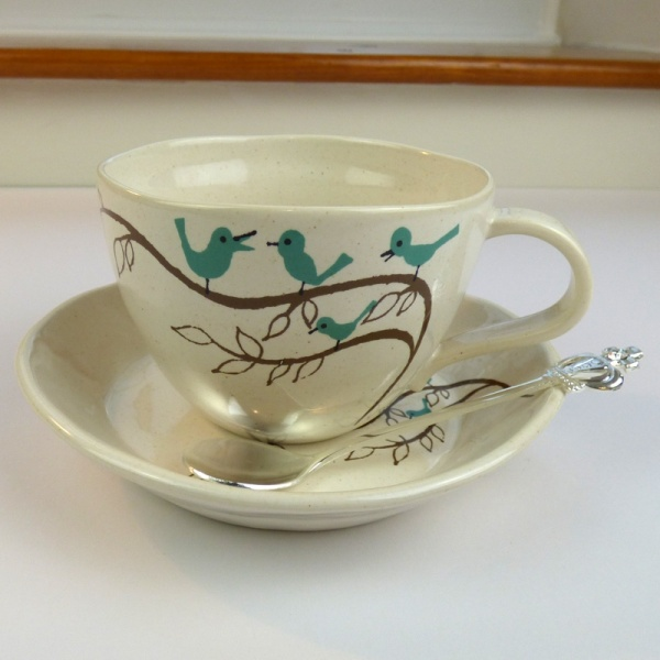 Bluebird design cup and saucer with Royal Crown teaspoon