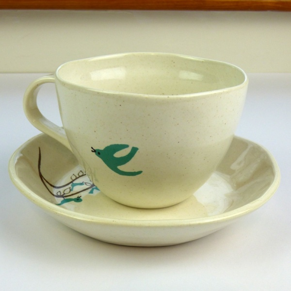 Bluebird design large cup and saucer