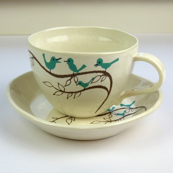 Bluebird design large cup and saucer by Shinzi Katoh