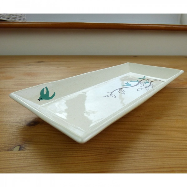 Rectangular serving plate with bluebird pattern