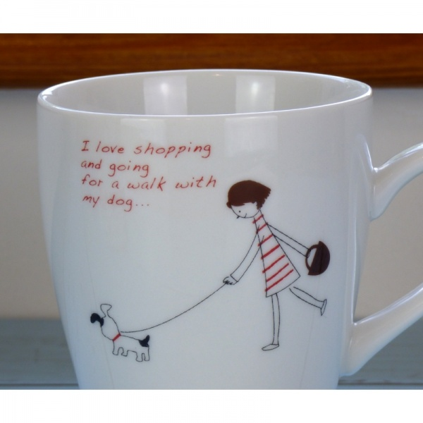 Shopping With My Dog cafe mug close up