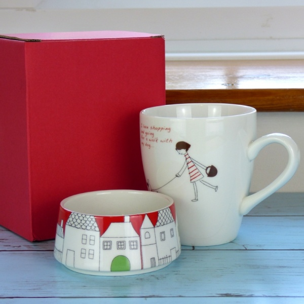Shopping With My Dog cafe mug set by Shinzi Katoh with gift box