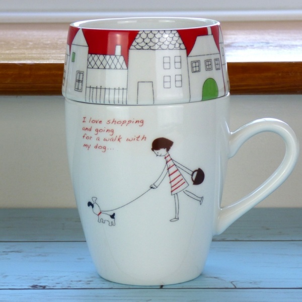 Shopping With My Dog cafe mug set by Shinzi Katoh