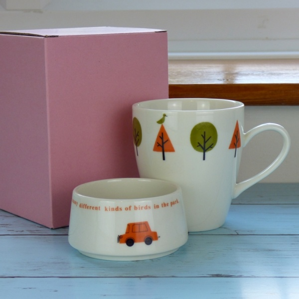 'Drive in the Park' cafe mug set by Shinzi Katoh with gift box